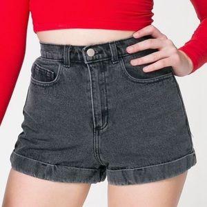 American Apparel High Waist Cuffed Denim Shorts